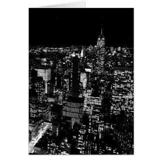 Noche negra y blanca de New York City Tarjeta
