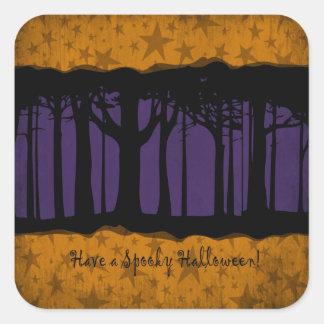 Noche oscura y mágica de Halloween del bosque Pegatina Cuadrada