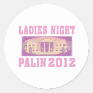 Noche Palin 2012 de las señoras Pegatina Redonda