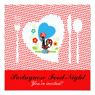 Noche portuguesa de la comida invitación 13,3 cm x 13,3cm