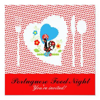 """Noche portuguesa de la comida invitación 5.25"""" x 5.25"""""""