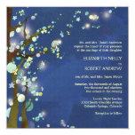 Noche preciosa en la invitación azul del boda del invitación 13,3 cm x 13,3cm