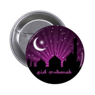 Noche púrpura de la mezquita de Eid - botón Pin Redondo De 2 Pulgadas
