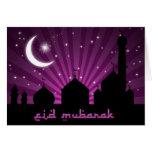 Noche púrpura de la mezquita de Eid - tarjeta de