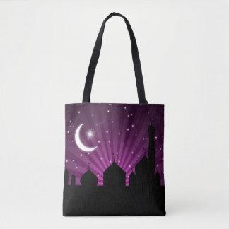 Noche púrpura de la silueta de la mezquita - la bolsa de tela