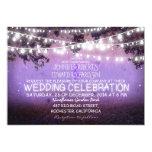 noche púrpura y boda rústico de las luces del invitacion personalizada