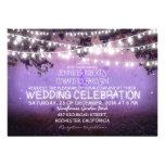 noche púrpura y boda rústico de las luces del jard