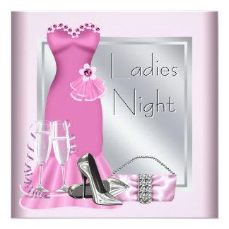"""Noche rosada de plata de las señoras rosadas de invitación 5.25"""" x 5.25"""""""