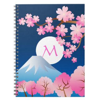 Noche Sakura de Japón de la primavera de las flore Cuadernos