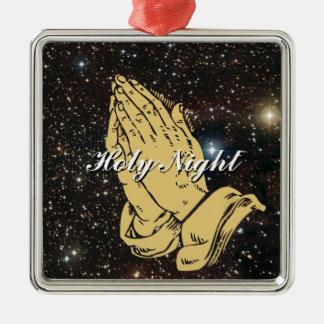 Noche santa, ornamento del navidad adorno navideño cuadrado de metal
