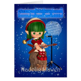 Noche silenciosa de la tarjeta de Navidad Galés, d