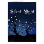Noche silenciosa de los árboles estrellados tarjeta pequeña