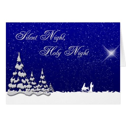 Noche silenciosa del navidad del invierno tarjeta de felicitación