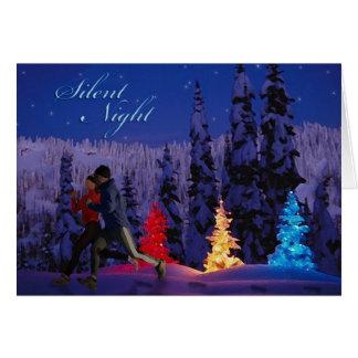 Noche silenciosa - funcionamiento doble cerca tarjeta de felicitación