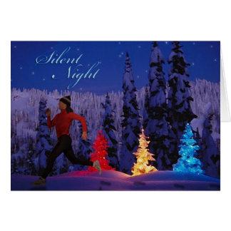 Noche silenciosa - funcionamiento femenino cerca tarjeta de felicitación