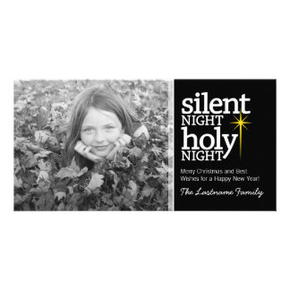 Noche silenciosa, navidad santo del cristiano de l tarjeta fotografica