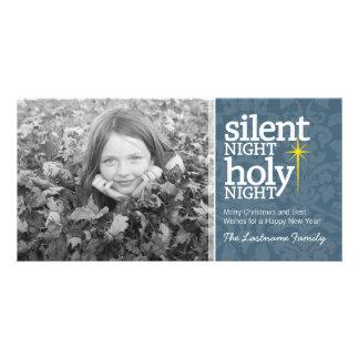 Noche silenciosa, navidad santo del cristiano de plantilla para tarjeta de foto