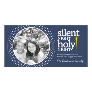 Noche silenciosa, navidad santo del cristiano de tarjeta fotografica