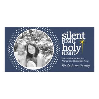 Noche silenciosa, navidad santo del cristiano de tarjeta personal con foto