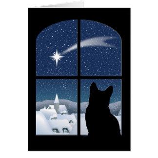 Noche silenciosa, tarjeta santa de la noche