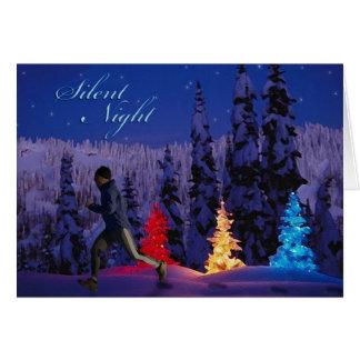 Noche silenciosa - varón que corre cerca tarjeta de felicitación
