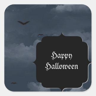 Noche tempestuosa con los palos Halloween Calcomanías Cuadradass