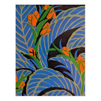 Noche tropical del art déco de Seguy - postal