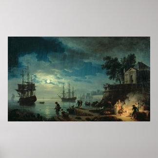 Noche: Un puerto en el claro de luna, 1748 Póster