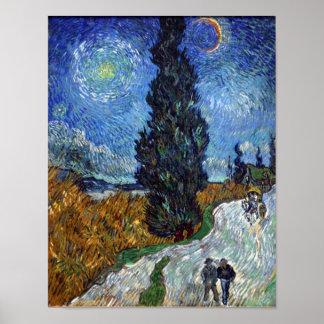 noche - Van Gogh - carretera nacional en Provence Posters