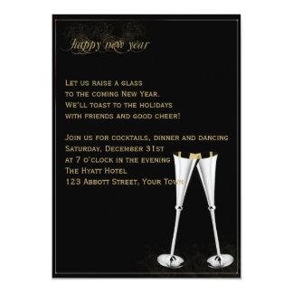 Noche Vieja las flautas de champán de la plata y Invitación 12,7 X 17,8 Cm