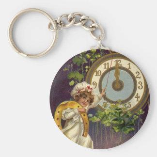 Noche Vieja, reloj el Victorian del vintage en la Llavero Redondo Tipo Pin