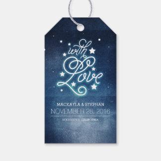 Noche y boda romántico de las estrellas etiquetas para regalos