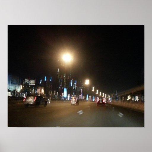 noche zayed jeque del camino de Dubai Abu Dhabi Posters