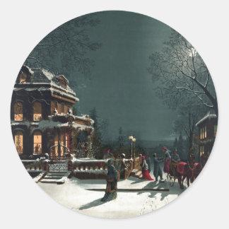Nochebuena 1880 pegatinas redondas