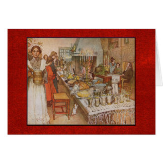 Nochebuena de Carl Larsson con el texto de encargo Tarjeta De Felicitación