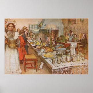 Nochebuena de Carl Larsson, días de fiesta del Póster