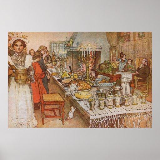 Nochebuena de Carl Larsson, días de fiesta del Poster
