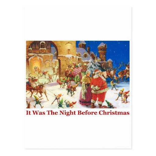 Nochebuena de Santa y de señora Claus en el Polo N Postal
