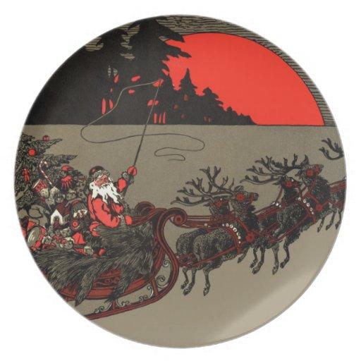 Nochebuena del trineo del reno de Papá Noel del vi Platos