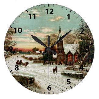 Nochebuena elegante del vintage reloj redondo grande