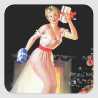 Nochebuena modela calcomanias cuadradas