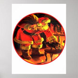 Nochebuena Papá Noel con el blanco Backgroun del g Póster