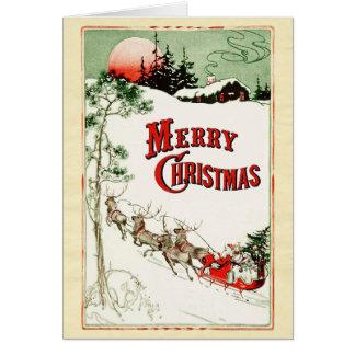 Nochebuena Santa del vintage, trineo y reno Tarjeta De Felicitación