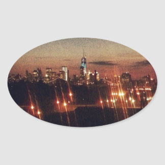 Noches de Nueva York Pegatina Ovalada