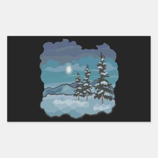 Noches del invierno pegatina rectangular