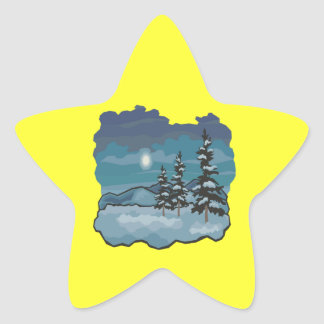 Noches del invierno pegatina en forma de estrella