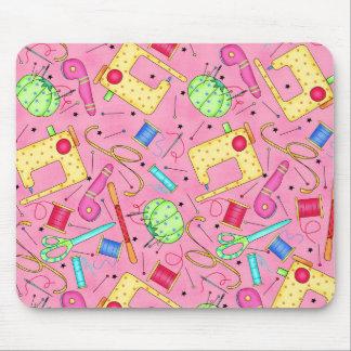 Nociones de costura rosadas Mousepad Tapete De Ratones