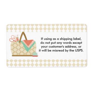 Nociones de la costurera de la tela de la cesta de etiqueta de envío