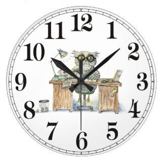 Noctámbulo del Workaholic Reloj Redondo Grande