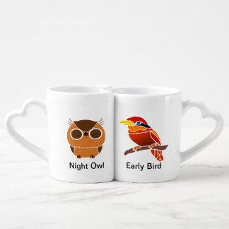 Noctámbulo/temprano pájaro (coloreado) taza para enamorados